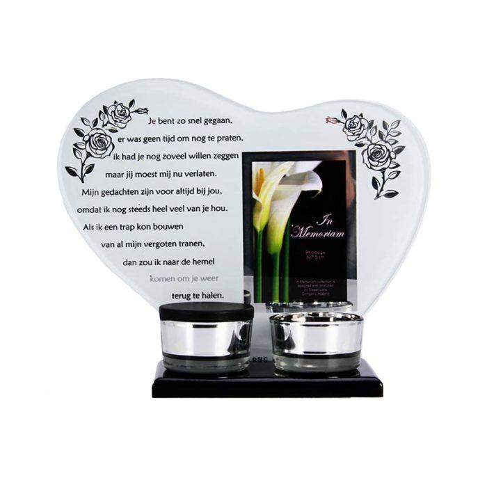 Gedenkhart mit Waxinelichthouder und Mini Urne Schnell Weg (0,015 Liter) Urnen mit Kerzenhalter