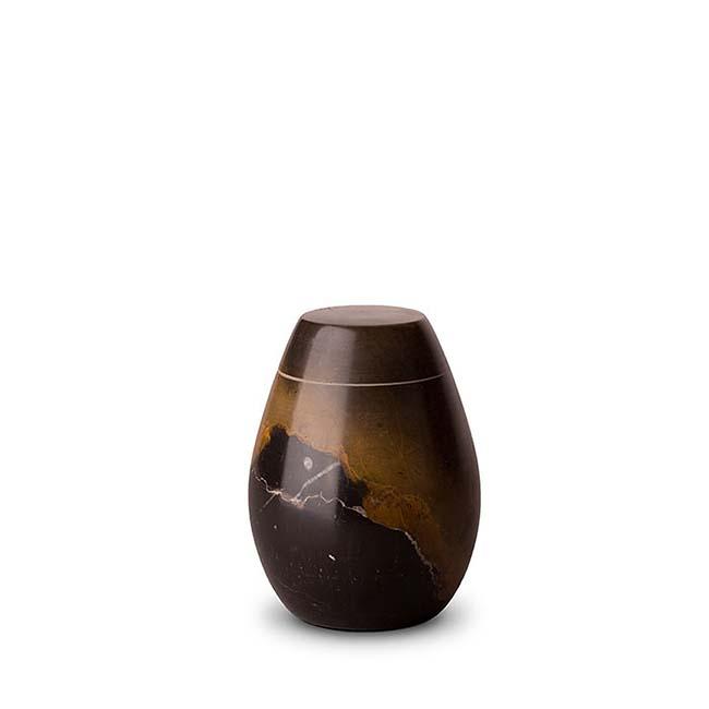 Marmor Mini Urne Schwarz-Beige (0,15 Liter) Natursteinurnen Mini Urnen