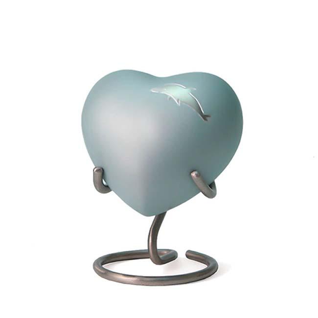 Aria Delphin Herz Urne (0,11 Liter) Messing Kleinurne Herz