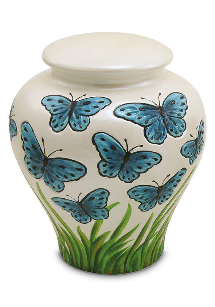 Große Keramische Blaue Schmetterlinge Relief Urne (3,8 Liter) Keramik Urnen