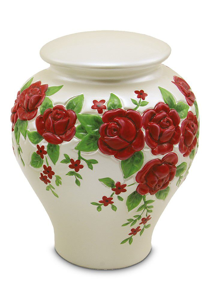 Große Keramische Rote Rosen Relief Urne (3,8 Liter) Keramik Urnen