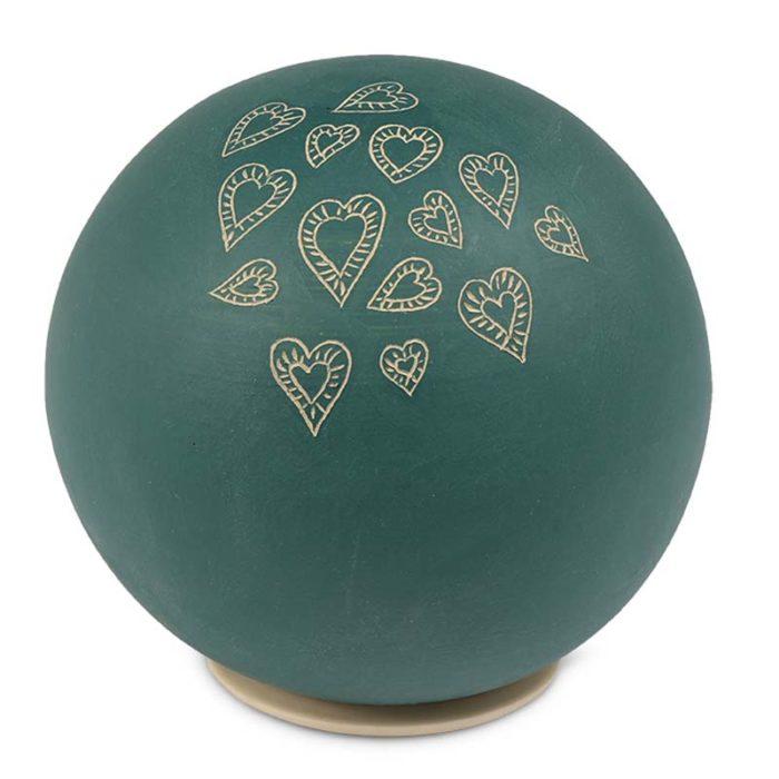 Große Keramische Kugel Urne, Beige Herzen (3,0 Liter) Keramik Urnen