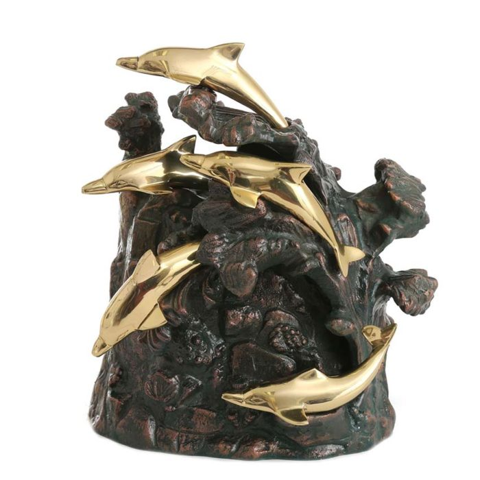 Bronze Urne Tanzende Delfine um Rock (4,5 Liter) Bronze Urnen