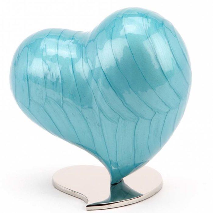Mittelgroße ´Mother of Pearl´ Urne Azurblau (1,5 Liter) Messing Einfachheit Urnen
