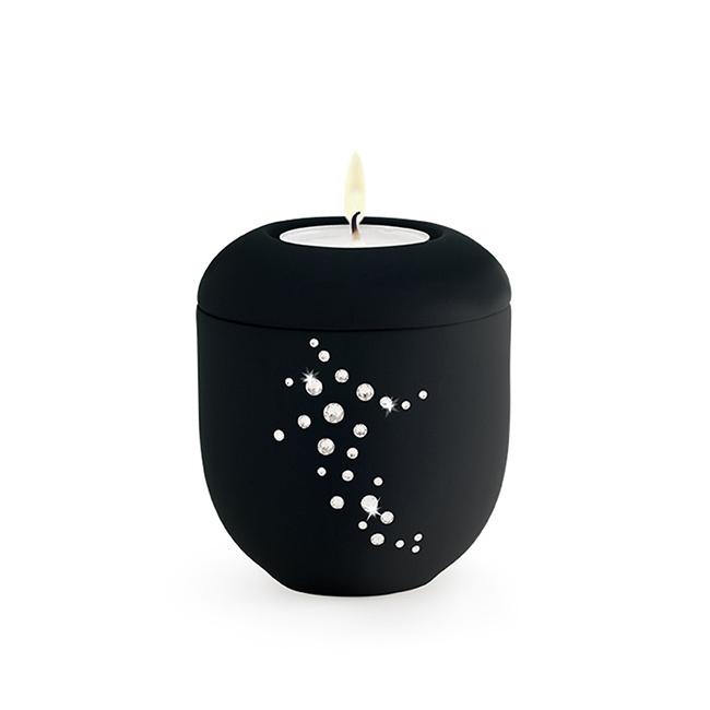 Dunkelschwarze Urne mit Teelicht Swarovski (0,3 Liter) Urnen mit Kerzenhalter