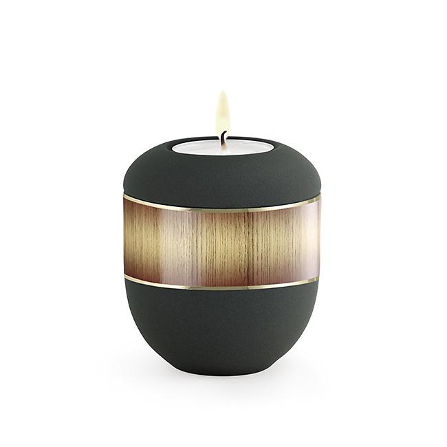 Anthrazite Urne mit Teelicht Sunburst (0,3 Liter) Urnen mit Kerzenhalter