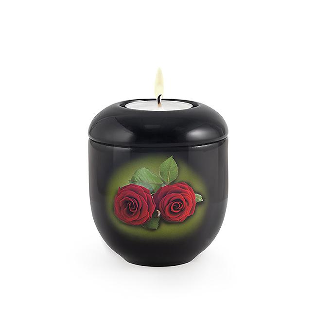 Dunkelschwarze Urne mit Teelicht Rote Rose (0,3 Liter) Urnen mit Kerzenhalter