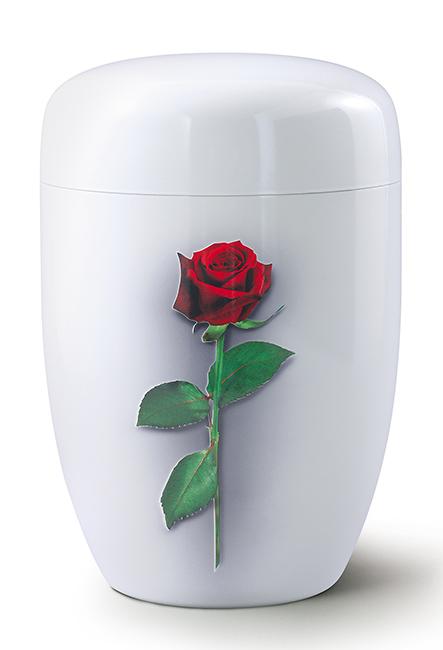 Biologische Abbaubare Öko Urne Rote Rose, weiße Seide (4,0 Liter) Ökologische Urnen