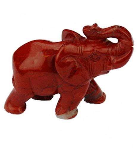 Elefant Gedenkstein Roter Jaspis (0,01 Liter) Mini Tierurnen aus Edelstahl