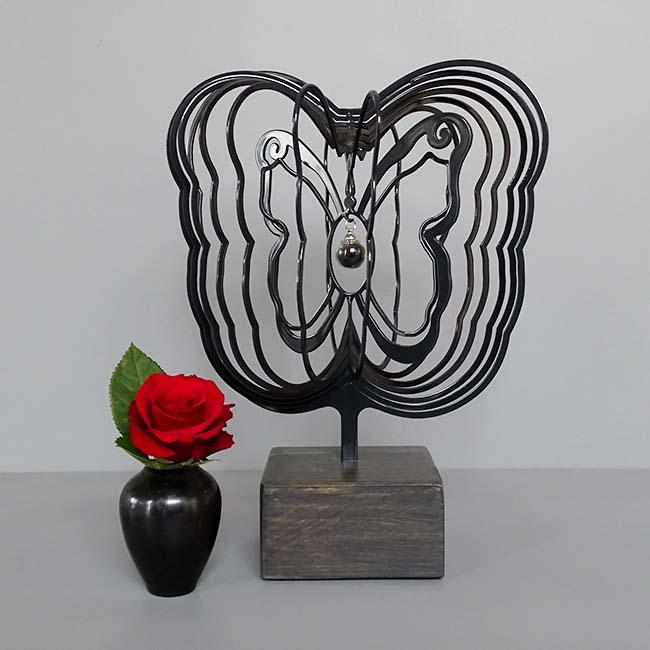 3D Mini Tierurne Schmetterling mit Aschekugel und Ascherohr, Schwarz oder Weiß (0,015 Liter) Hölzerne Schmetterlinge für Asche