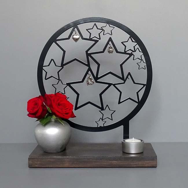 Tiergedenkaltar Sterne Voller Erinnerungen, Schwarz oder Weiß (28 cm) Tierurnen