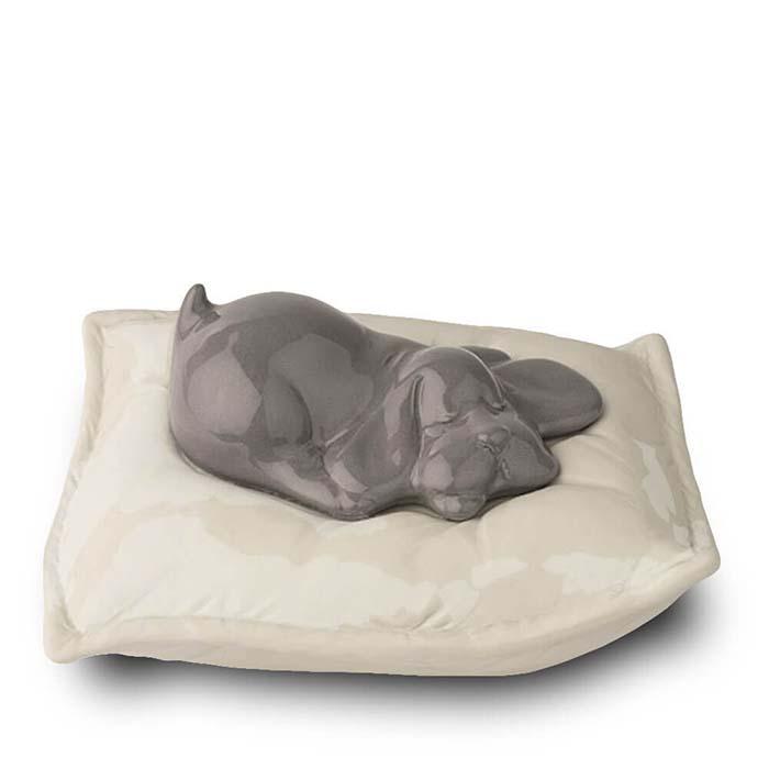 Graue Urne Schlafender Hund auf Kissen (0,8 Liter) Hundeurnen