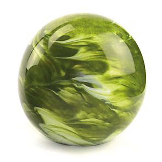 Mittelgroße Glaskugel Tierurne Elan Marmor Grün (1,5 Liter) Glaskugelförmige Tierurnen