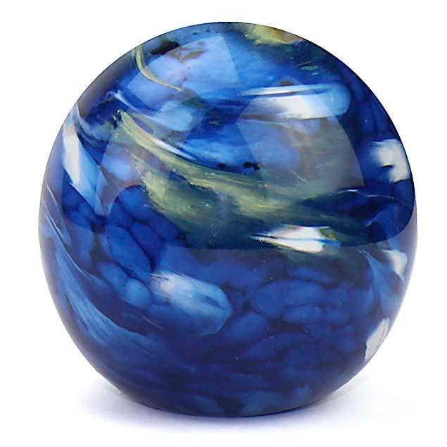 Mittelgroße Glaskugel Tierurne Elan Marmor Blau (1,5 Liter) Glaskugelförmige Tierurnen