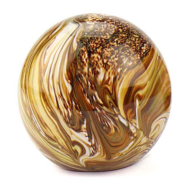 Mittelgroße Glaskugel Tierurne Elan Marmor Erde (1,5 Liter) Glaskugelförmige Tierurnen