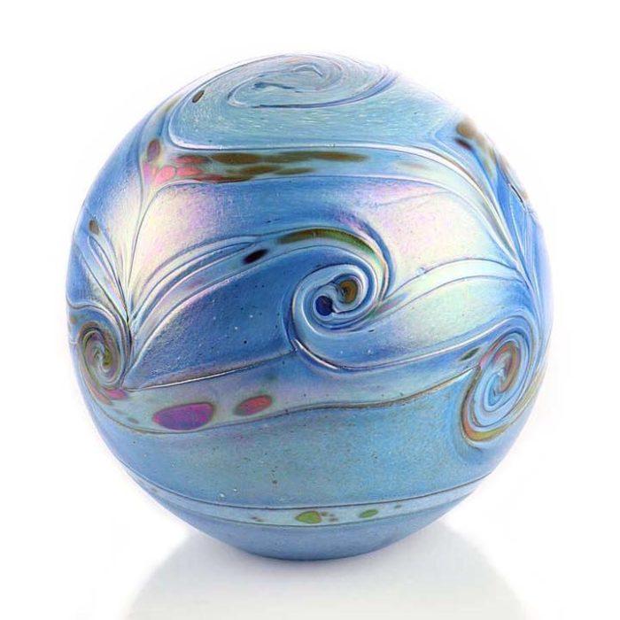 Große Glaskugel Tierurne Elan Blau (4,0 Liter) Glaskugelförmige Tierurnen