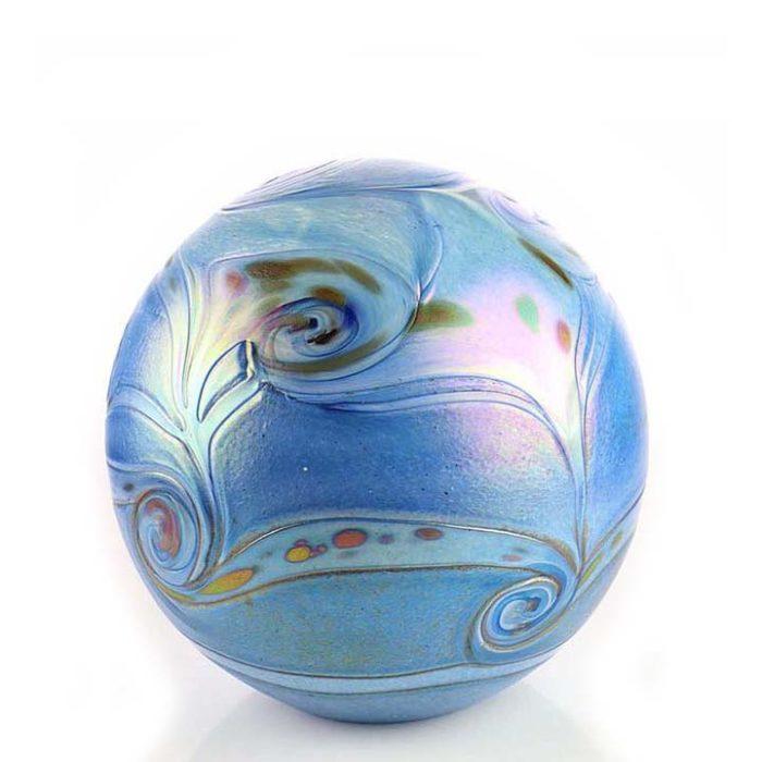 Mittelgroße Glaskugel Tierurne Elan Blau (1,5 Liter) Glaskugelförmige Tierurnen