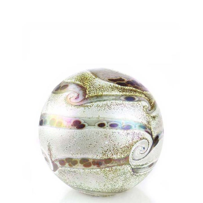 Kleine Glaskugel Tierurne Elan Elfenbein (0,5 Liter) Glaskugelförmige Tierurnen