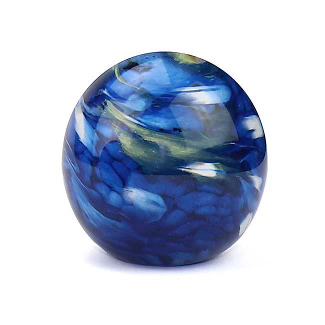 Kleine Glaskugel Tierurne Elan Marmor Blau (0,5 Liter) Glaskugelförmige Tierurnen