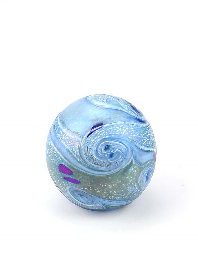 Mini Glaskugel Tierurne Elan Birne Blau (0,1 Liter) Glaskugelförmige Tierurnen