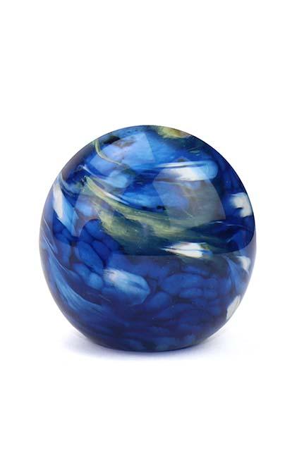 Mini Glaskugel Tierurne Elan Marmor Blau (0,1 Liter) Glaskugelförmige Tierurnen