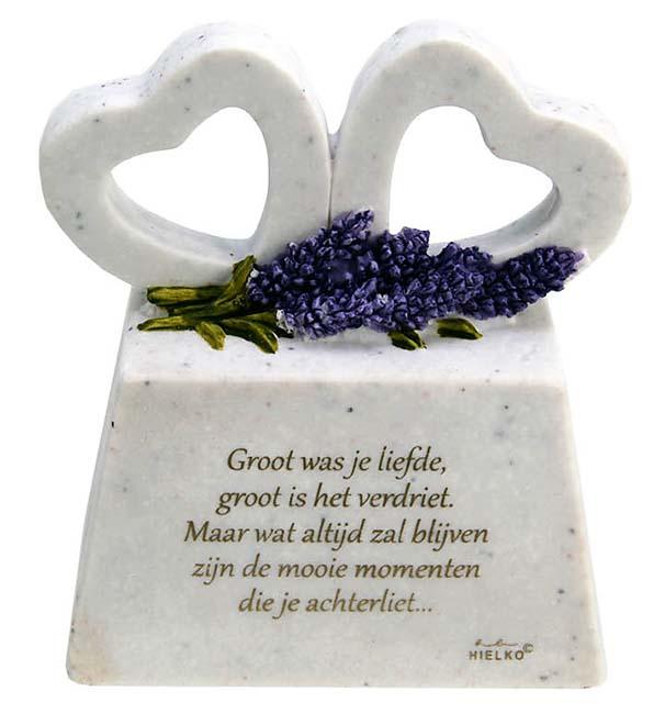 Zwei Gedenkherzen auf Assokkel mit Gedicht Liebe (0,2 Liter) Gedenkherzen mit Aschehalter