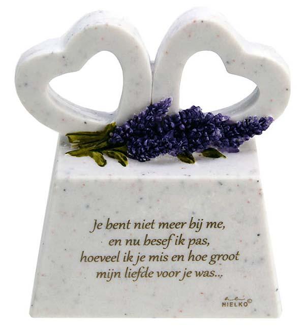 Zwei Gedenkherzen auf Assokkel mit Gedicht Mangel (0,2 Liter) Gedenkherzen mit Aschehalter