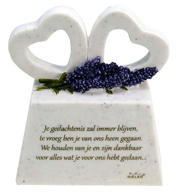 Zwei Gedenkherzen auf Assokkel mit Gedicht Dankbar (0,2 Liter) Tierurnen
