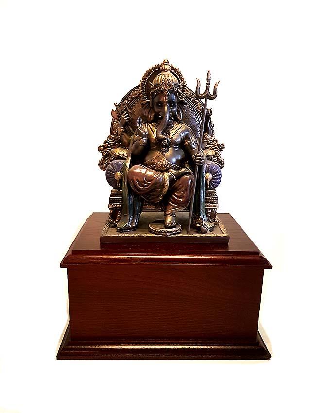 Bronze Tierurne Ganesh Statue auf Hartholz Eschen Sockel (2,4 l oder 3,0 l) Tierurnen