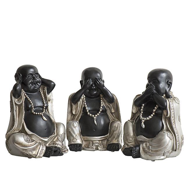 Chinesische Anhörung Siehe Stille Buddha Tierurne Schwarz-Silber (3x 1,5 Liter) Tierurnen