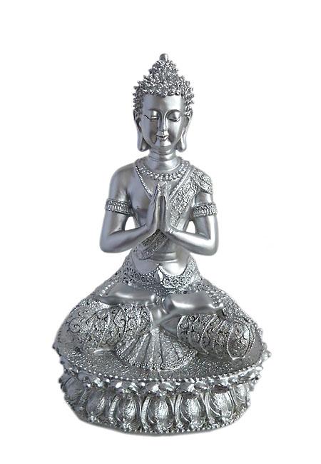 Tibetischer Meditation Buddha Tierurne Silber (1,5 Liter) Tierurnen
