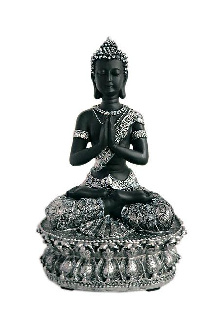 Tibetischer Meditation Buddha Tierurne Schwarz-Silber (1,5 Liter) Tierurnen