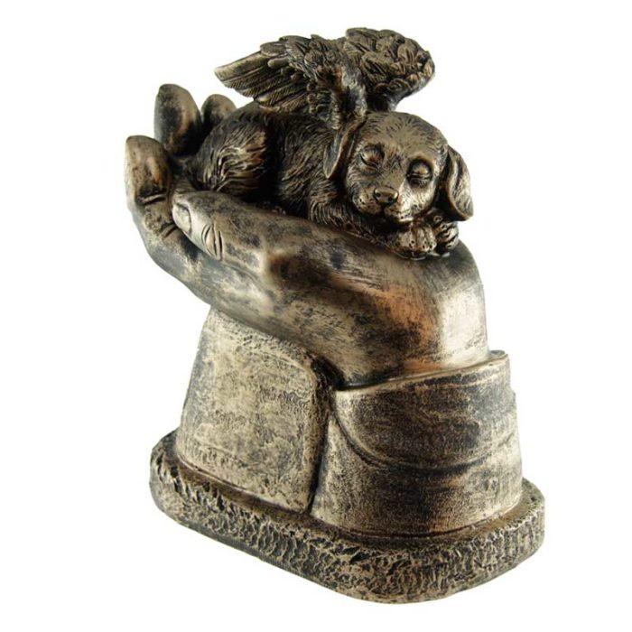 Hunde Aschestatue An den Händen Getragen Bronze (1,0 Liter) Hundeurnen