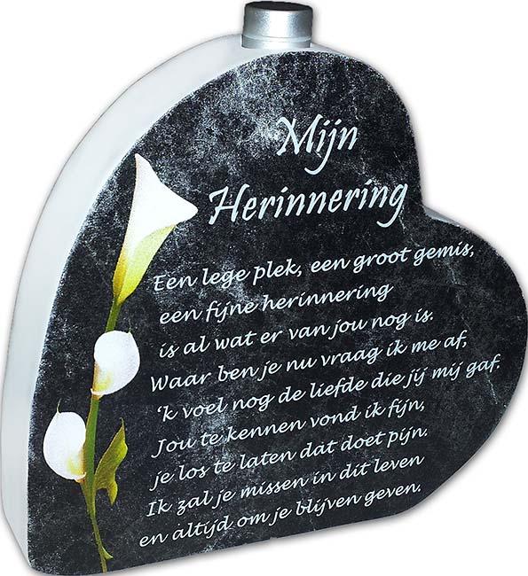 Hölzernes Gedenkherz mit Gedicht und Aschenbecher Erinnerung (0,015 Liter) Gedenkherzen mit Aschehalter