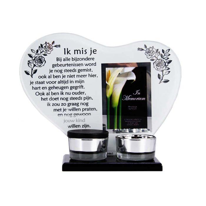 Gedenkherz mit Teelichthalter und Mini Urne ´Vermisse Dich´ (0,015 Liter) Gedenkherzen mit Aschehalter