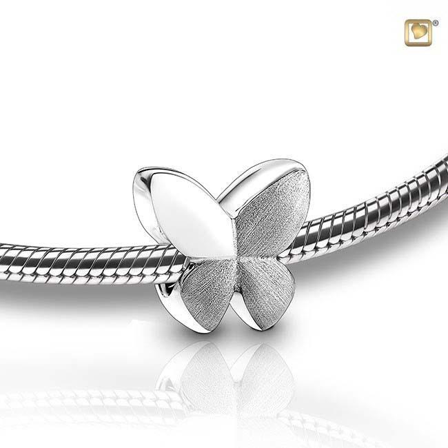Eschenperle Schmetterling Zweifarbig Silber Asche Schmuck