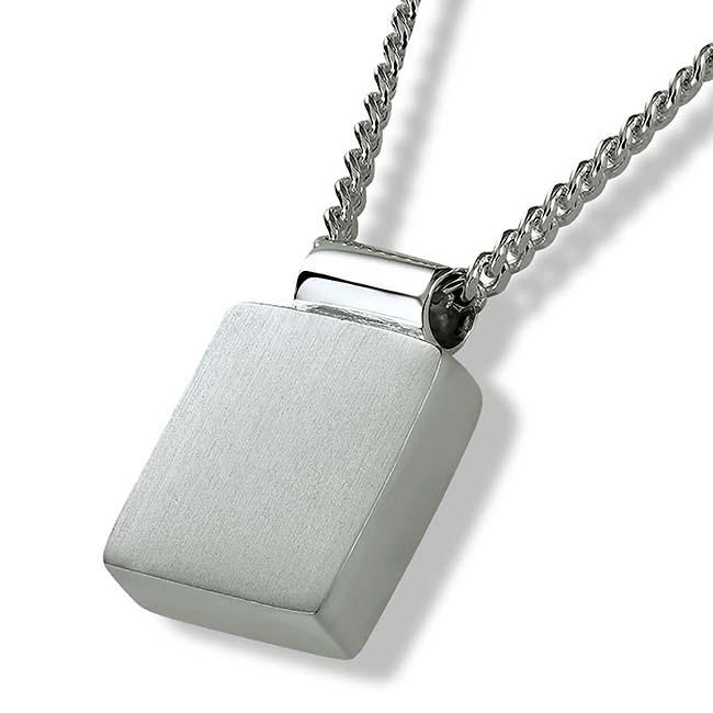 Ascheanhänger Quadratisches Bild Silber Asche Schmuck