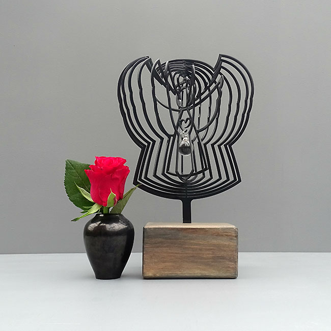 3D Ascheanhänger Engel mit Aschekugel und Ascherohr, Schwarz oder Weiß Asche Schmuck