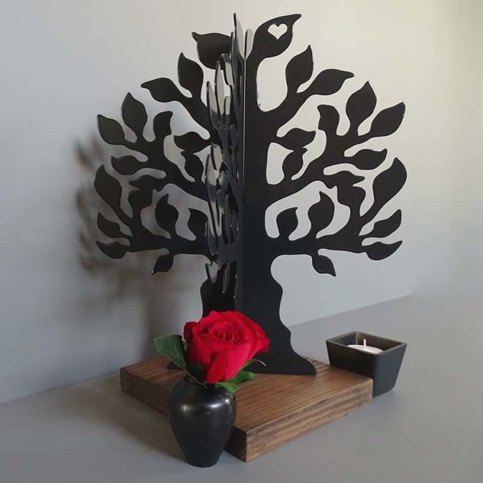 3D Ascheanhänger Gedenkbaum mit Aschekugel und Ascherohr, Schwarz oder Weiß Asche Schmuck
