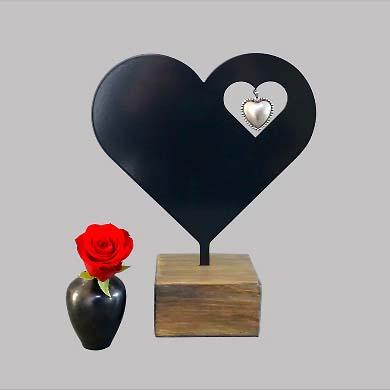 Ascheanhänger Urne Herz Schwarz oder Weiß (0,015 Liter) Asche Schmuck