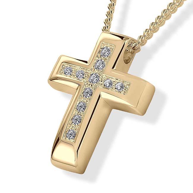 Ascheanhänger Kreuz mit 11 Brillante Asche Schmuck