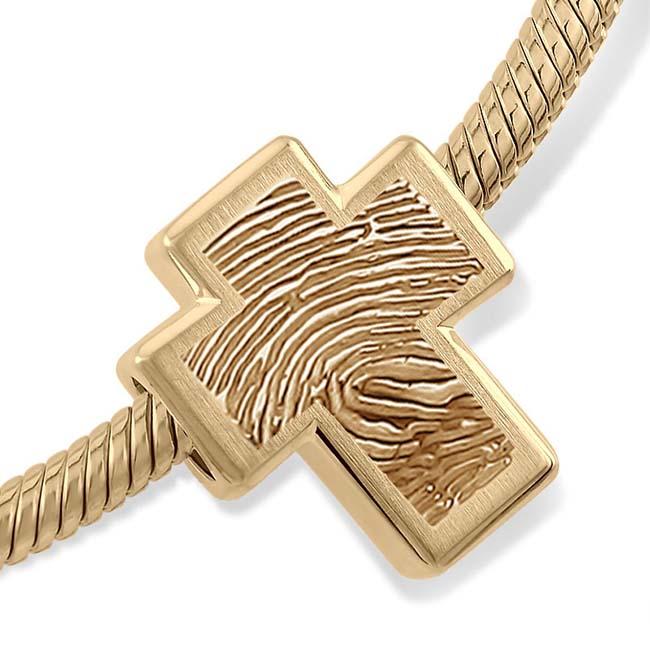 Fingerabdruck Ascheanhänger Memorial Kreuz Gold Asche Schmuck