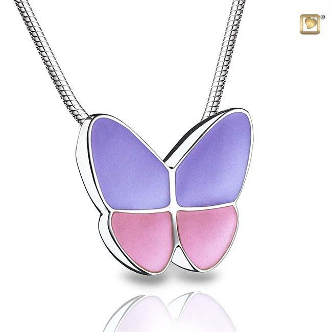 Ascheanhänger Schmetterling Lavendel, inklusive Colliere Asche Schmuck