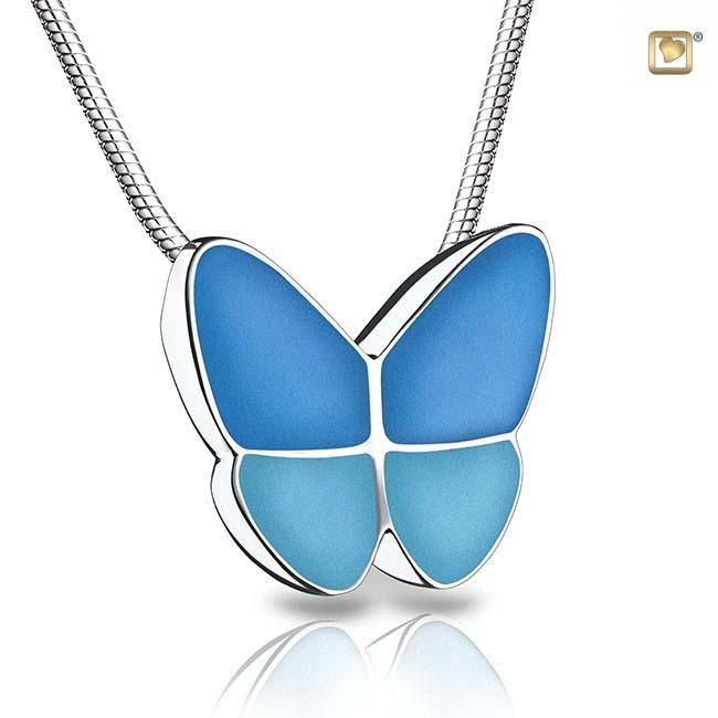 Ascheanhänger Schmetterling Blau, inklusive Colliere Asche Schmuck