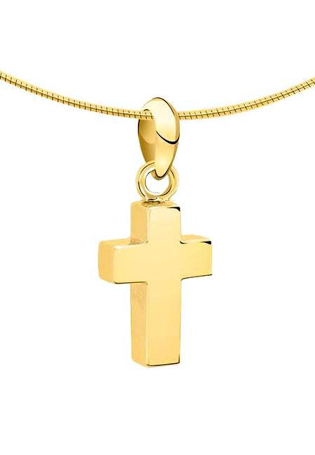 Ascheanhänger Kleines Kreuz Gold Asche Schmuck