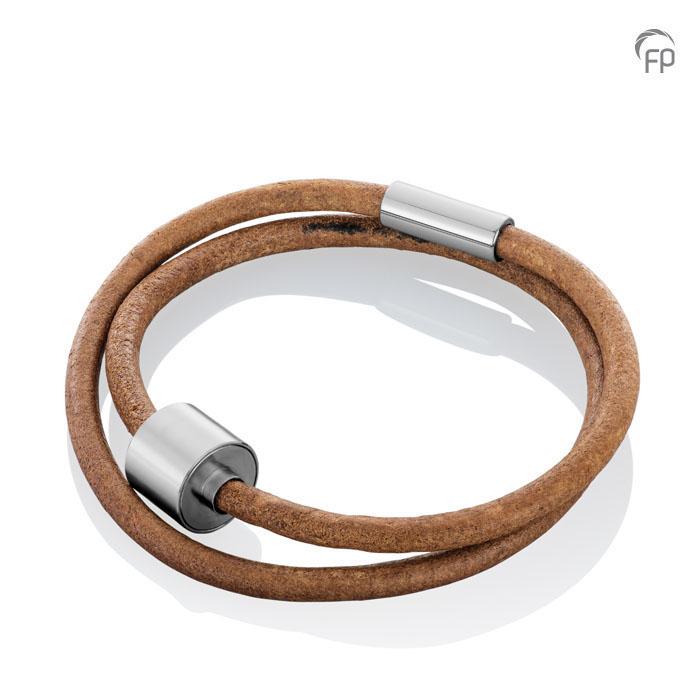 Braunes Leder Barrel Spang Armband, RVS Eschenraum Armbänder mit Aschekapsel