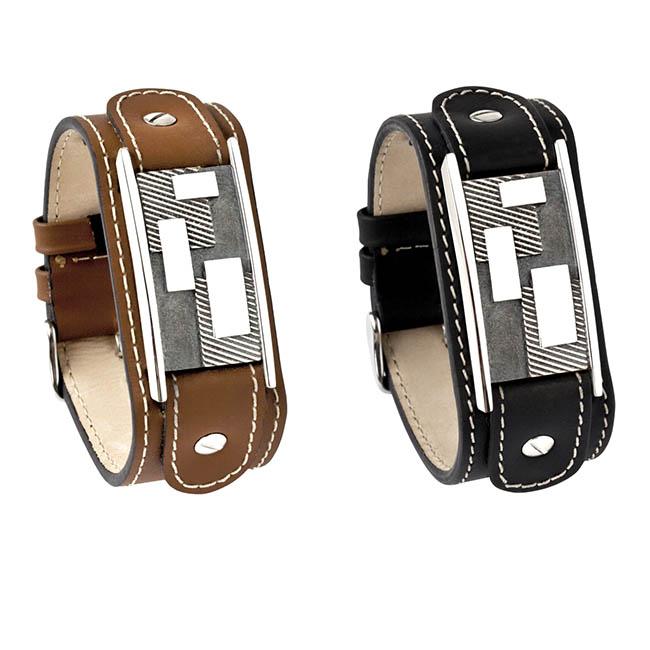Herrenarmband aus Kalbsleder mit Silber Eschenrohr Abstrakt Armbänder mit Aschekapsel