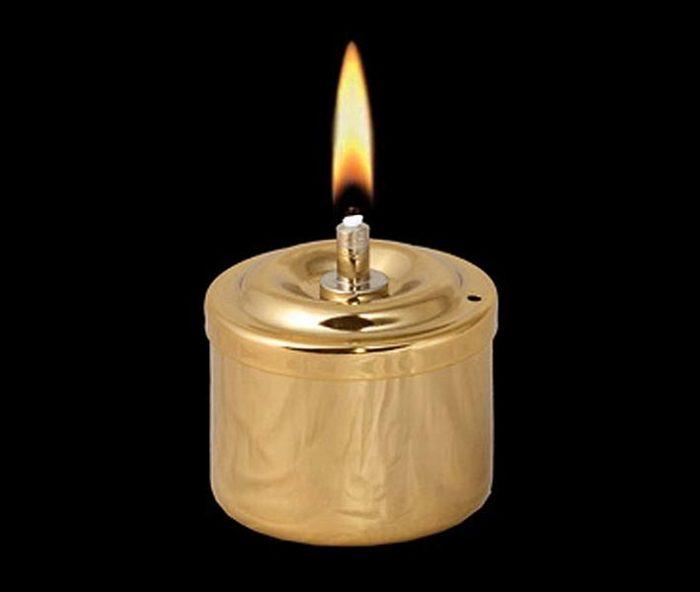 Goldene RVS Öllampe Öllampe