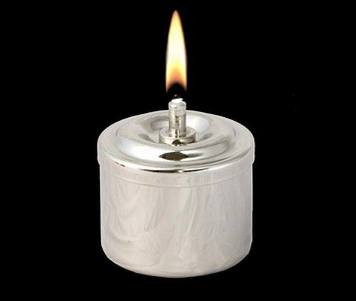 Silberne RVS Öllampe Öllampe