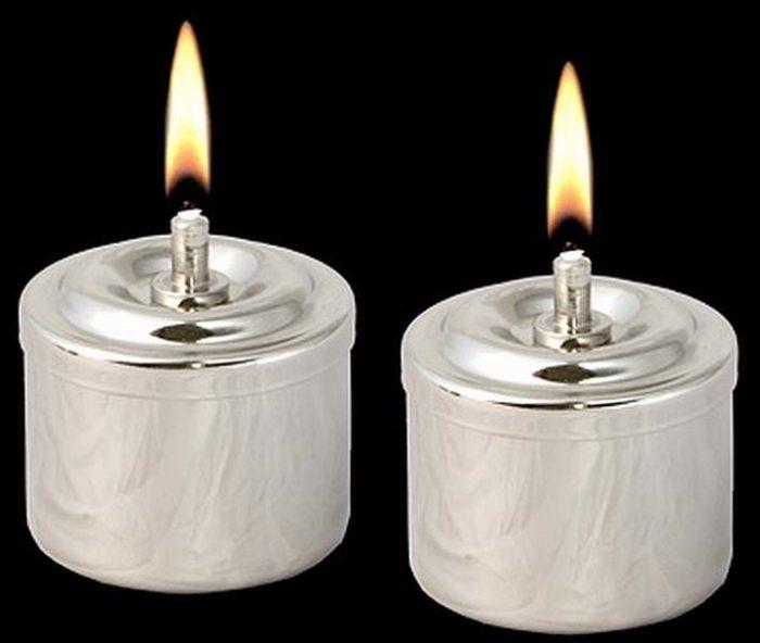 Zwei Silberne Öllampen aus Edelstahl Öllampe